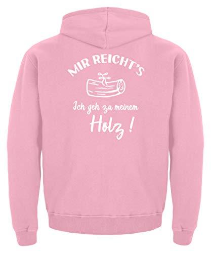shirt-o-magic Tischler Schreiner: Ich GEH zu Meinem Holz! - Kinder Hoodie -7/8 (122/128)-Baby Pink