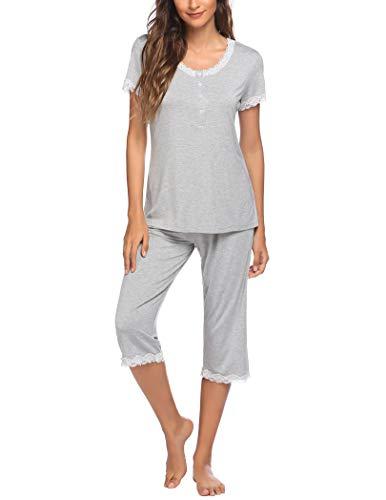 Ekouaer Pyjamas for Women Set pjs Nightwear Grey