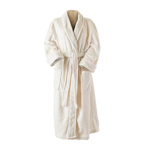 Sonoma Lavender Luxury Spa Robe with Lavender Sachet, Soft Plush Robes for Women, One Size Fits Most Cozy Bathrobe for Relaxation, Ivory