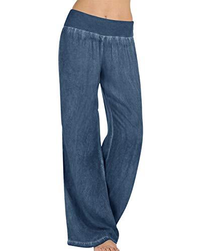 Kidsform Pantaloni Lunghi Donna Pantaloni Sportivi Casual Yoga Pantaloni da Jogging Casual Elastico Ampio a Vitell Alta Pantaloni Dritti B-Blu L