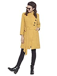 Martini Women Yellow Asymmetric Long Woolen Felt Coat