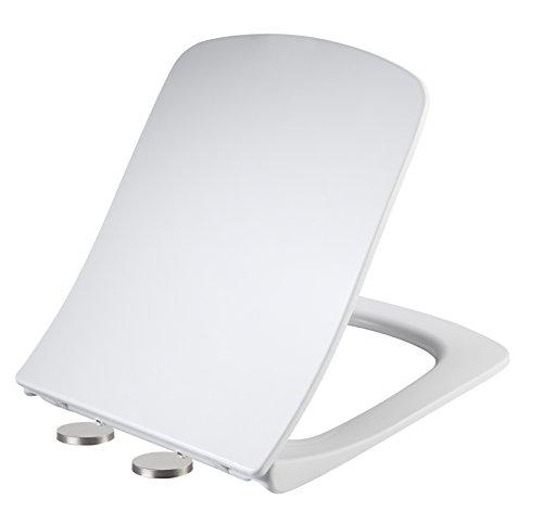 Weißer Quadratischer Soft-Close-WC-Sitz Einfach zu Installieren und Lösen Schnellbefestigung UF Antibakterieller Schnellverschluss mit Langsam Schließenden Scharnieren Verstellbarer Bad-WC-Deckel