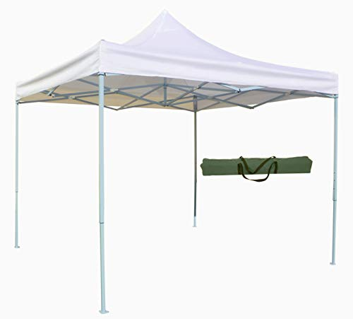 Gazebo pieghevole richiudibile telescopico 3x3 m. telo bianco per mercato fiera manifestazioni sagra campeggio giardino telo plastificato impermeabile anti pioggia