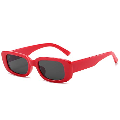Dollger Retro Rectangle Sunglasses For Women Trendy Vintage 90s Small Sunglasses UV 400 Protection Square Shades Red