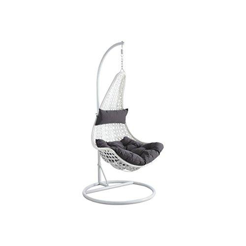 Balancelle sur pied en Polyrésine et Acier Blanc 83x68cm Blanc et Gris