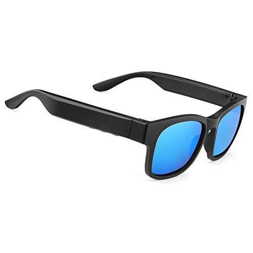 Gafas de sol inteligentes de audio polarizadas UV400 con oído abierto Bluetooth, para escuchar música, hacer llamadas de teléfono (A12Pro-Azul)