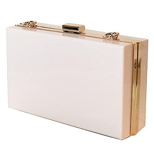 QIANJINGCQ Moda personalidad acrílico bolso femenino pequeño bolso cuadrado temperamento color caramelo caja transparente bolsa cena bolsa diseño simple bolsa de cadena