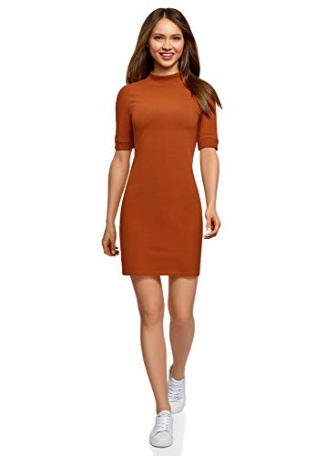 oodji Ultra Damen Kleid mit Stehkragen, Orange, DE 38 / EU 40 / M
