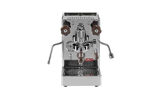 Lelit PL62-W Mara, Máquina de Espresso Profesional-Grupo E61-Pomos Ideal para el Expreso y el Capuchino, 1400 W, 2 litros, Stainless Steel, PerillasypomoenMaderadeNogal