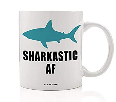 Sharkastic AF Mug Digibuddha Shark Lover Coffee Cup Funny Novelty Gag Gift Sarcastic Asshole As Fuck Chomping Adult Meme Attack Saying Sarcasm Fun Quote Coworker Boss Glass 11 oz Ceramic Drinkware