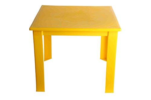 Fiore - Mesa plegable de plástico, para niños, para interiores y exteriores, mesa de café, mesa de pícnic portátil. amarillo amarillo