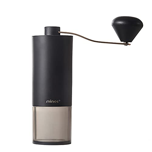 Minos Portable Manual Coffee Grinder Integrated Travel Bean Grinder Stainless Steel Mills,Grinding Burr SUS420,Color Black, For Espresso, Cold Brew,Drip Coffee & All