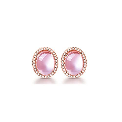 LOKILOKI Color Oro Rosa Oval Cz Crystal Ross Collar Rosa De Cuarzo Pendientes Y Anillo Conjunto De Joyas para Mujeres Dulces Niñas