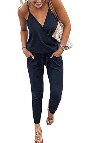 QEESMEI Women's Jumpsuit Rompers V Neck Spaghetti Strap Drawstring Waisted Long Pants Jumpsuits Black