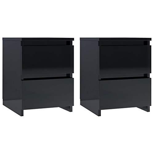 vidaXL Sängbord 2 st svart högglans 30x30x40 cm spånskiva