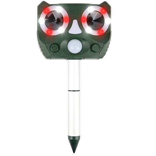 Ultrasonic Animal Repellent,Solar Powered Waterproof Animal Repeller with Motion Sensor, Scares Repels Deer Raccoon Cat Dog Rabbit Squirrel Bird