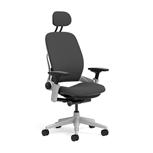 Steelcase Leap Task Chair: Platinum Base - 4D Adjustable Arms - Headrest - Standard Carpet Casters