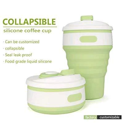 Tasse à Café pliable, 350ml Mug Portative étanche avec Couvercle, sans BPA Silicone,Tasse de Thé Pliable Réutilisable Tasse de Voyage, pour Voyager, Camper, Dehors - Vert