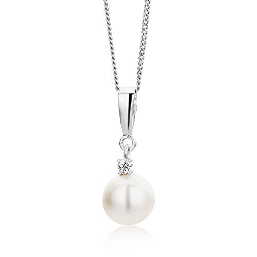 Miore Collana Donna Perla di fiume con Catena, con Diamante taglio Brillante Oro Bianco 9 Kt / 375 Catenina Cm 45