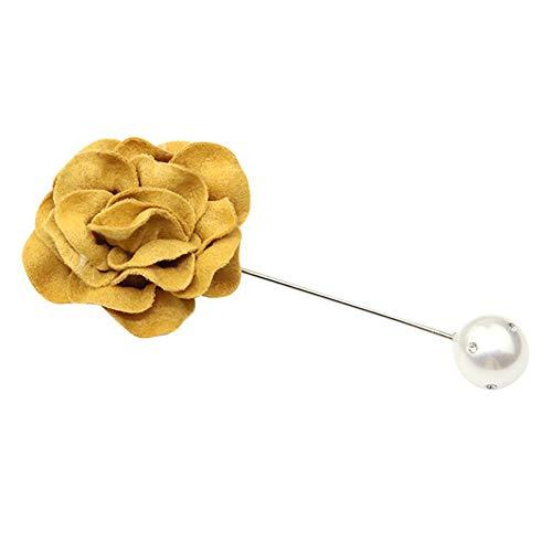 Nikgic - Broche Tela - Simple Broche de Rosa - Adecuado para la Boda Día de Navidad Accesorios de Ropa - 9.5 cm de Largo (Amarillo)