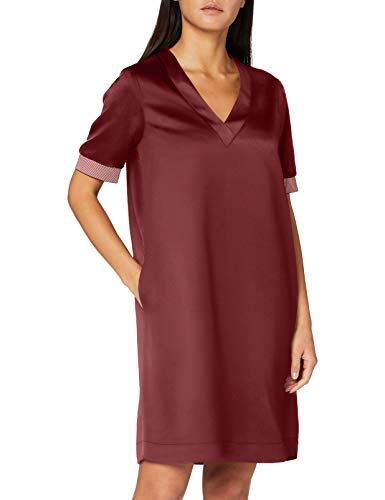 Scotch & Soda Maison Womens V-Neck with Ribs Casual Dress, Wine 0640, M