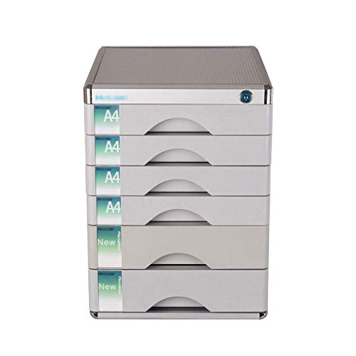 LHQ-HQ Schublade Sorter, 6-Ebene-Desktop-A4-Papier mit Lock-Multi-Layer-Kunststoff Schublade Typ Büro Storage Archive Box Farbe-Silber Zeitungsständer