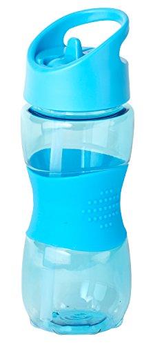 Thermo Rex Trinkflasche Grip | 400ml | blau | BPA-freier Kunststoff | nahezu bruchsicher u wiederverwendbar – mit integriertem Strohhalm |Wasserflasche