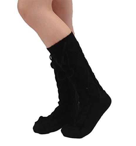 Women Knitted Knee High Slipper Socks with Grips Anti-skid Boot Socks (Black)