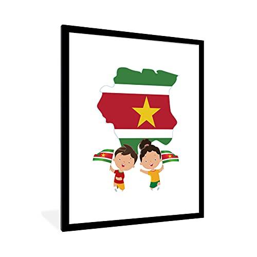 Poster mit Rahmen - Die surinamische Flagge, abgebildet als Illustration mit der Flagge - fotolijst zwart met witte passe partout 60x80 - 60x80 cm