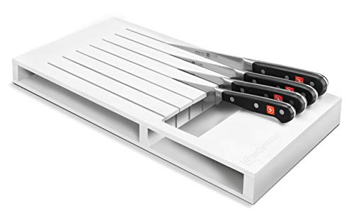 WÜSTHOF Schubladeneinsatz für 7 Teil Küchenzubehör, Kunststoff, weiß, 43 x 22 x 4 cm, Edelstahl