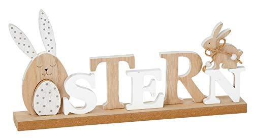 Posiwio dekorativer Schriftzug Ostern mit Hase und Ei als ausgefallene Osterdeko in braun-weiß ca. 30 x 4 x 15 cm hoch