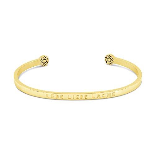 Simple Pledge - LEBE Liebe Lache - Blind - Armreif in Gold mit Gravur für Damen