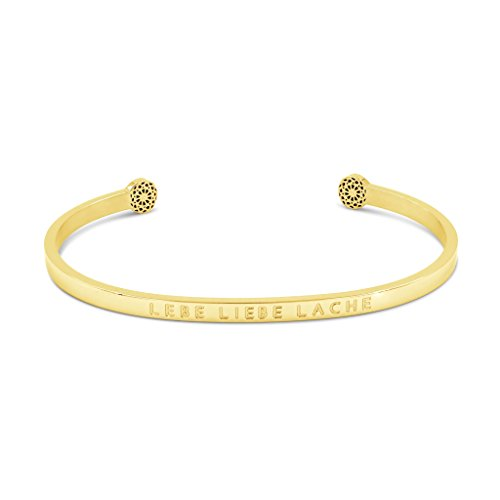 Simple Pledge - LEBE Liebe Lache - Blind - Armreif in Gold mit Gravur für Damen