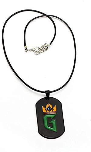 LBBYMX Co.,ltd Collar de Moda El Juego de Cartas Collar Etiqueta de Metal Insignia Colgante Cuentas Cadena de Cuero Gargantilla Llavero Joyería para Hombres
