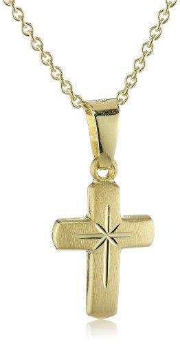 Xaana Kinder und Jugendliche-Anhänger Kreuz 12 mm matt diamantiert 8 Karat (333) Gelbgold + 925 Silberkette vergoldet AMZ0209