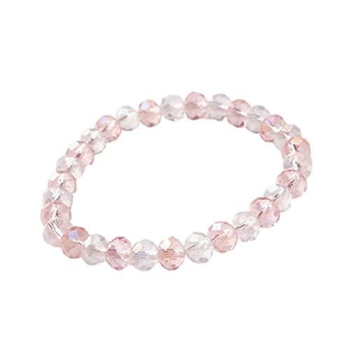 Colgante de cristal natural europeo y americano de 8 mm a juego con la personalidad creativa de cuentas de cristal de moda para bricolaje, rosa claro