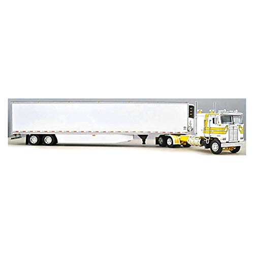 1/64 DCP White and Yellow Kenworth K-100 110 FT Cab with Tandem Reefer by First Gear 60-0897
