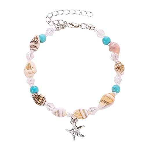 FENGGUO Tobillera de tobillo pulsera de pie cadena joyería con concha de estrellas de mar accesorios joyería de pie para mujeres y niñas