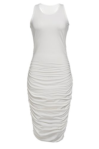 Zeagoo Women's Summer Sexy Sleeveless Sundress Fold Bodycon Tank Dress,White,X-Large