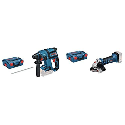 Bosch Professional 0611904003 Perforateur Sans Fil GBH 18 V-EC & 060193A308 18V System Meuleuse Angulaire sans-fil GWS 18-125 V-LI (Régime à Vide : 10000 tr min, 125 mm) Bleu