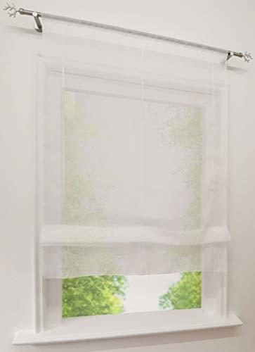EZ GLAM Raffrollo Voile Transparent Raffgardinen mit Tunnelzug Rollos 1PC Vorhang (B*H 100*155cm, Weiß)