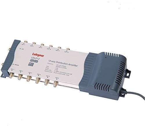 Labgear Distribution Amplifier with IR Bypass, LDL212R RED Compliant 2 Input 12 Output mains powered DigiLink Amplifier For Digital TV, Freeview, SKY, DAB