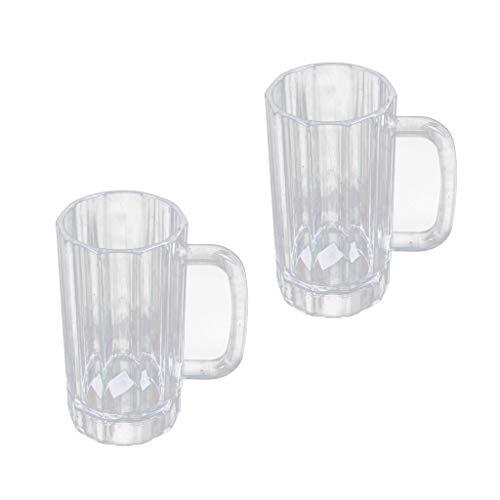 Non-brand 2X Jarra de Cerveza para Beber de Plástico Acrílico Transparente 520ml
