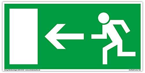 Schild Notausgang | extra langnachleuchtend | PVC selbstklebend 297x148mm | gemäß BGV 8A | DIN 67510 | Notausgangsschild Pfeil Links | Fluchtwegschild Rettungsweg | Dreifke® extra 160