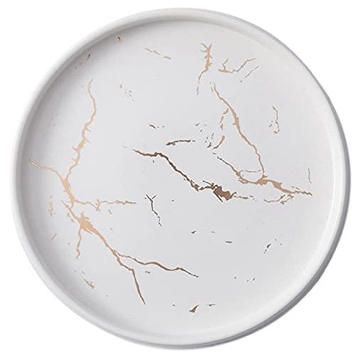 Lsdnlx Fruteras,Plato de cerámica de mármol Blanco Dorado, Juego de Cubiertos de Porcelana, Mesa de Cocina, Plato de Postre Decorativo Europeo para bistec