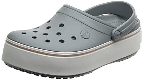Crocs Men's and Women's Crocband Clog | Platform Shoes, Light Grey/Rose, 8