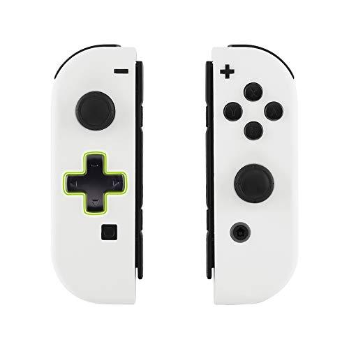 eXtremeRate Hülle für Nintendo Switch Joycon,Case Gehäuse Hülle Schale Soft-Touch Ersatzteile für Nintendo Switch Joycon Controller&kompletter Satz Taste(D-Pad-Version)-Weiß-Keine Console Hülle