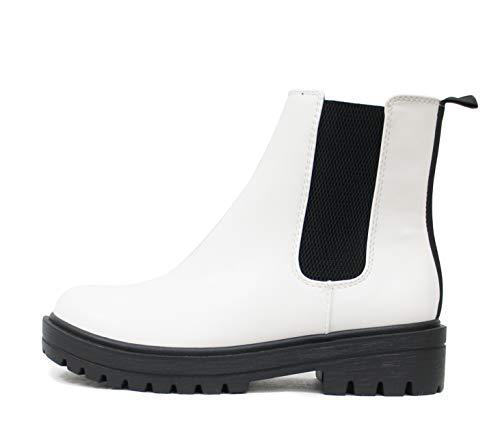 Soda Pilot ~ Women Lug Sole Low Heel Chelsea Fashion Ankle Bootie w/Double Elastic Gore (White, numeric_5_point_5)