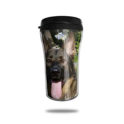 Taza de café de viaje con estampado de pastor alemán, taza de vacío portátil de impresión delicada, taza con aislamiento ABS de grado alimenticio, antiderrame (8.8 oz)