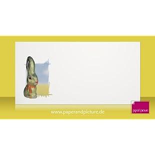 Goldener Osterhase, 10er-Set Motiv-Umschläge DIN lang, einseitig mit Motiv bedruckt
